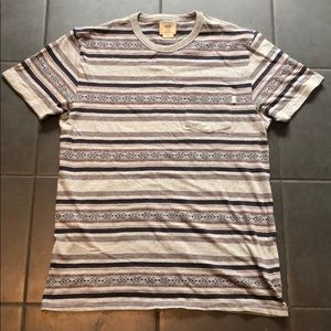 Vans T-Shirt Stripe Gray Men's Large Pocket Blue